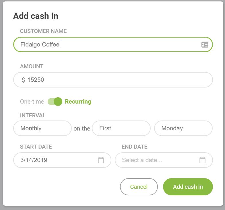 cash in customer