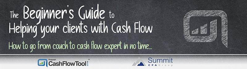 Banner: The Beginner's Guide to Helping your Clients with Cash Flow; How to go from couch to cash flow expert in no time