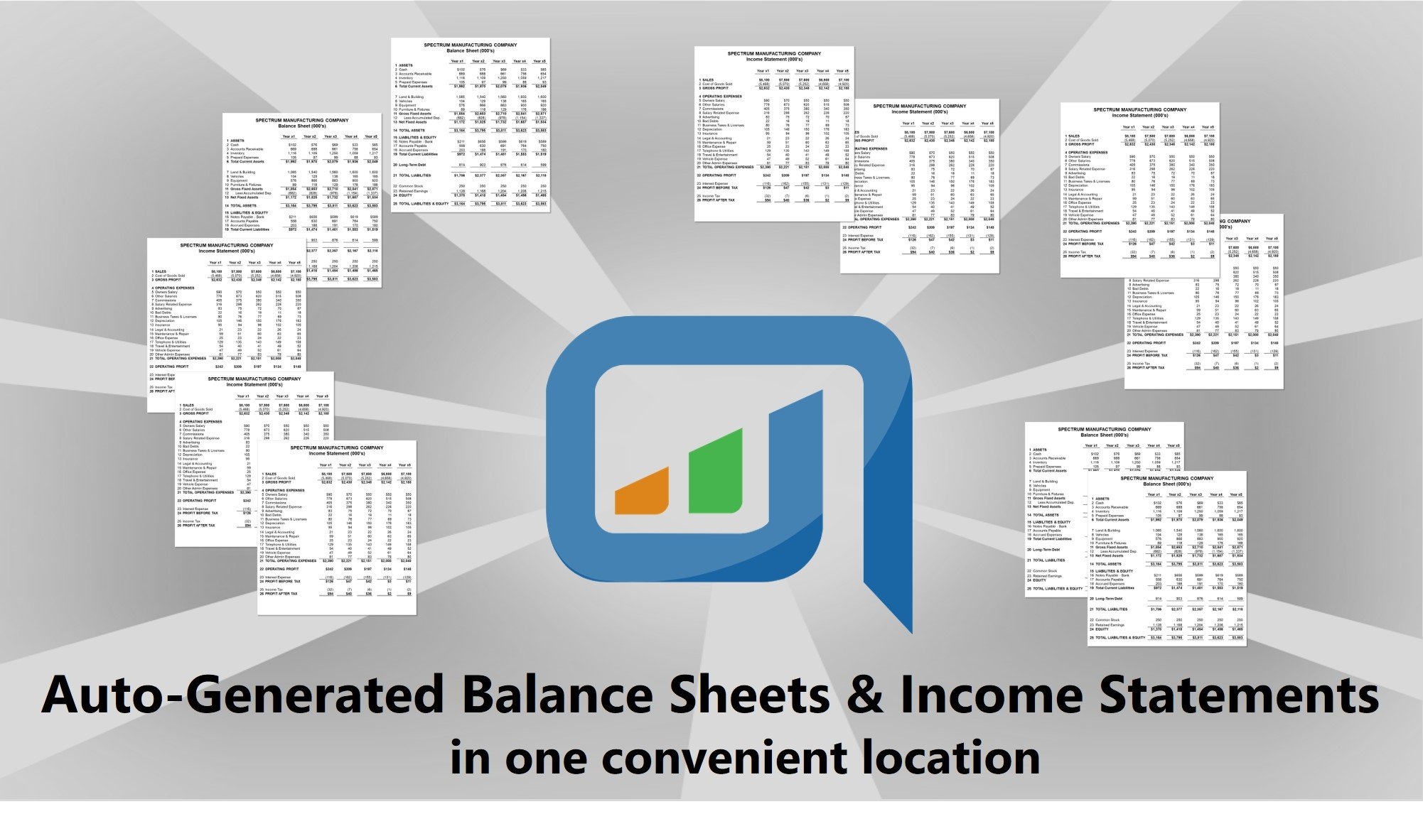 Auto-generated balance sheets and income statement